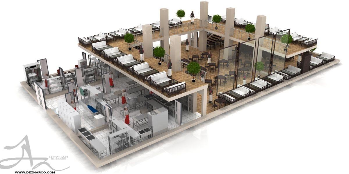 طراحی پلان رستوران دو طبقه