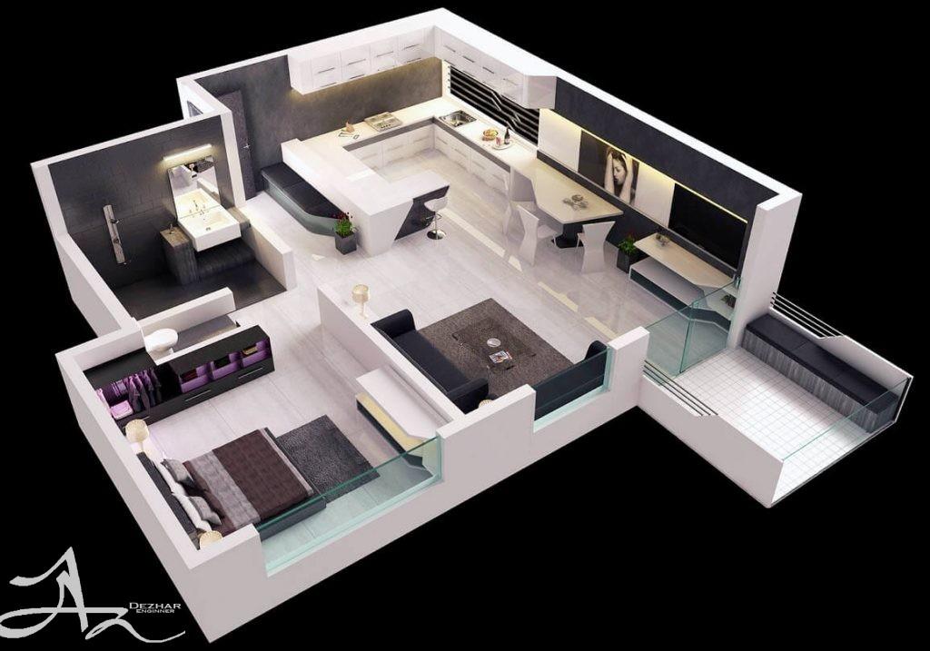 طراحی پلان 4 واحدی مسکونی