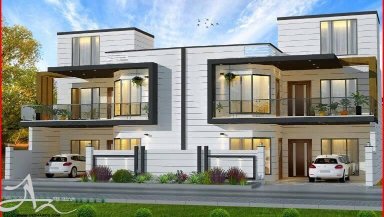 طراحی نما ساختمان دو طبقه