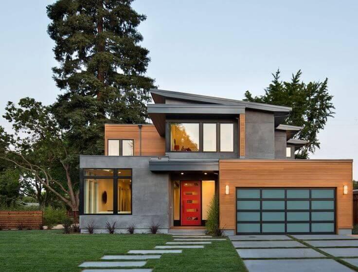 طراحی نما مدرن ساختمان یک طبقه