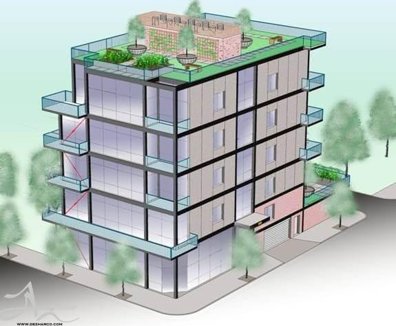 طراحی نمای ساختمان 5 طبقه