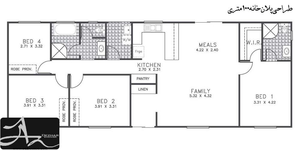 طراحی پلان خانه 100 متری