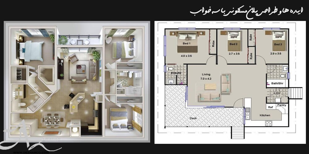 نقشه و پلان خانه 3 خوابه