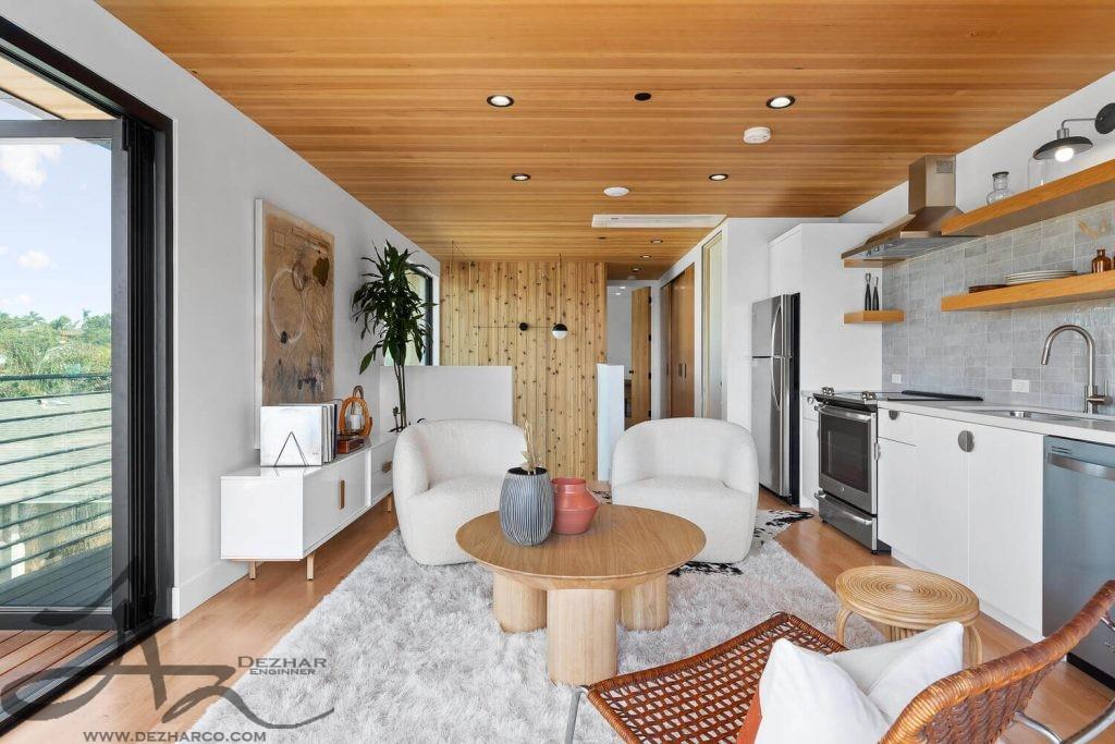 طراحی داخلی ویلا با چوب