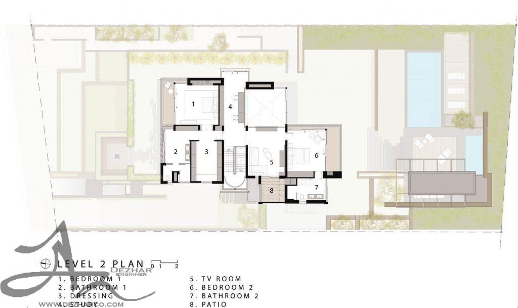 نقشه ویلا دوبلکس طبقه دوم