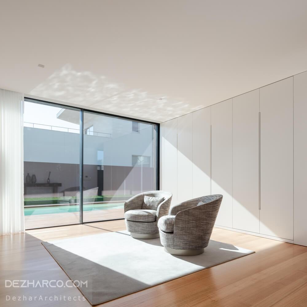 طراحی داخلی ویلا با دید استخر
