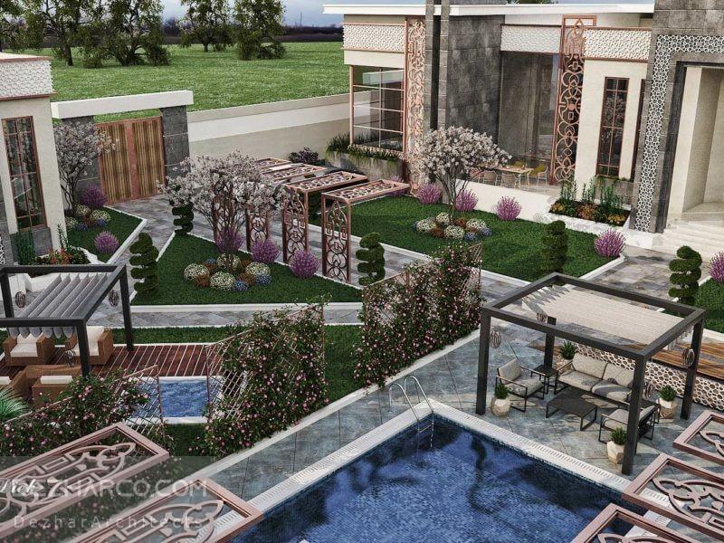 طراحی فضای سبز ویلا کلاسیک