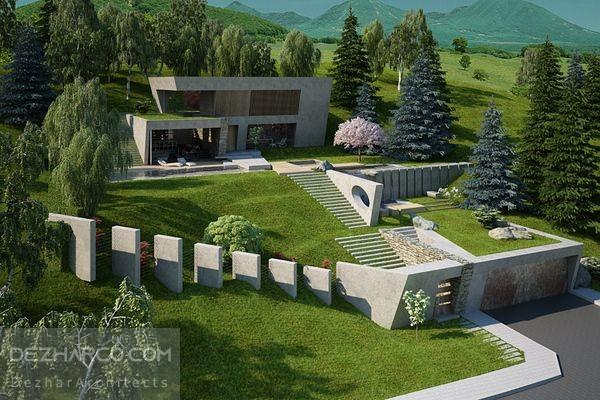 طراحی لنداسکیپ ویلا در زمین شیبدار