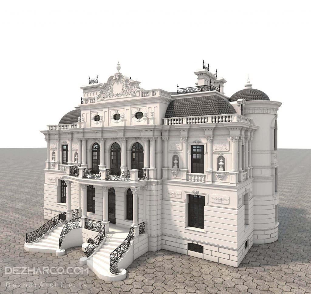 طراحی سه بعدی ساختمان به سبک کلاسیک