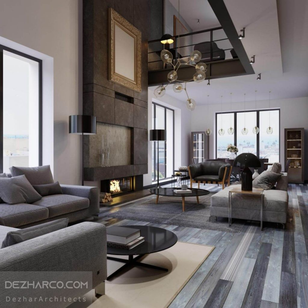 طراحی داخلی ویلا دوبلکس رنگ خاکستری
