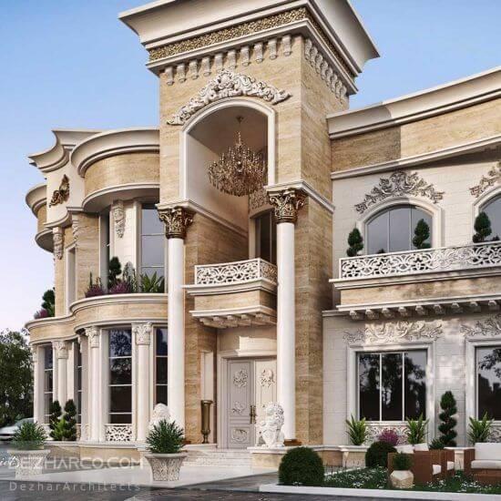 طراحی نما ویلا کلاسیک رومی