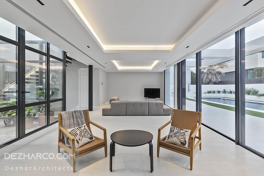 طراحی سالن اصلی ویلا به رنگ خاکستری